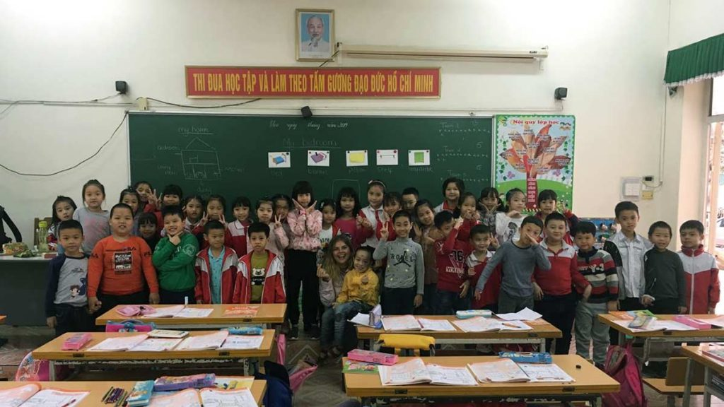 Lucy With Students Teaching In Hanoi